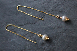 Sea and Stone Jewelry - Side View of Vermeil Pearl Threader Earrings
