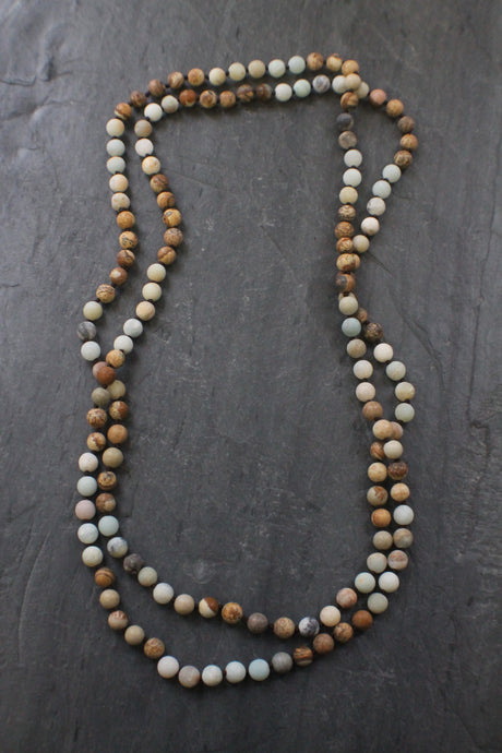 Sea and Stone Jewelry - Extra long Hand Knotted Amazonite & Jasper Wrap Necklace, no clasp.