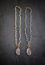 Sea and Stone Jewelry | Delicate Pearl Fringe Necklaces (gold or black metal) with Abalone Shell Pendant