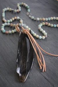 Sea and Stone Jewelry - Sterling Silver, Matte Amazonite, and Water Buffalo Horn Necklace with Suede Fringe