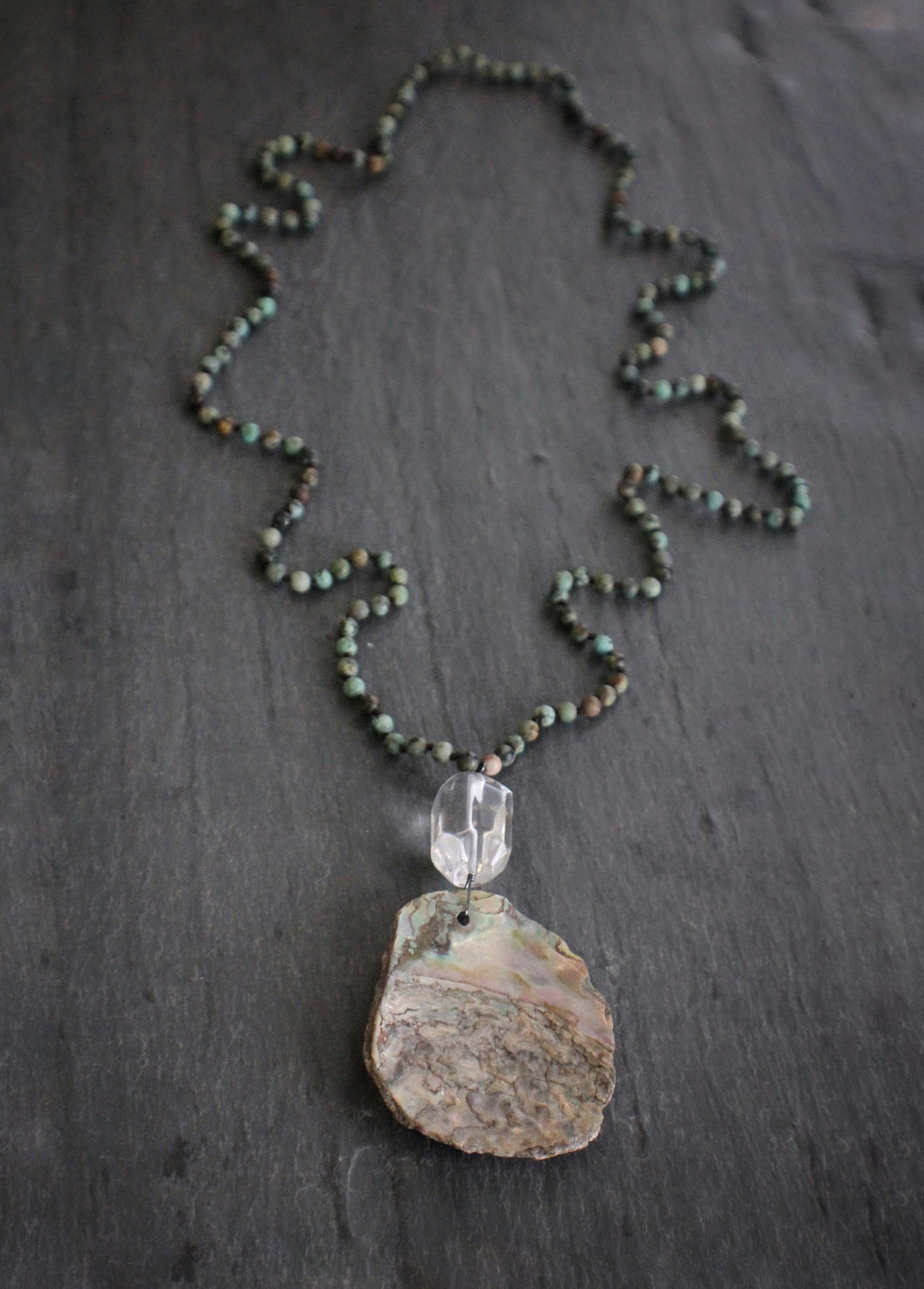 Sea and Stone Jewelry - Beaded African Turquoise Necklace with Quartz & Abalone Pendant