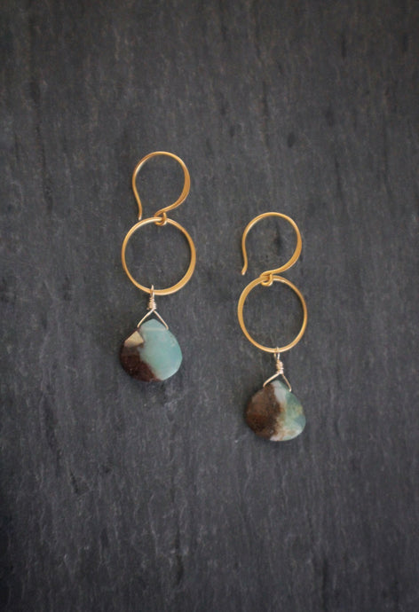 Sea and Stone Jewelry Vermeil and Brown/Green Chrysoprase Earrings