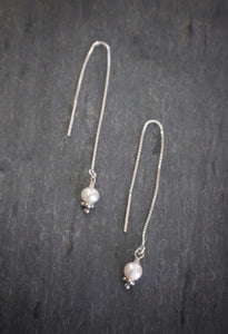 Dainty Pearl Threader Earrings (Silver or Gold Vermeil)