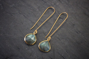 Sea and Stone Jewelry - Labradorite Earrings on Elongated Vermeil Earwires