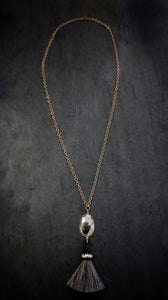 Pyrite & Horsehair Tassel Chain Necklace