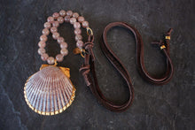 sea and stone jewelry Shell, Strawberry Quartz, & Suede