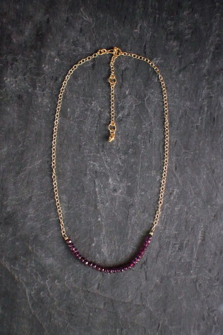 sea and stone jewelry Rhodolite Garnet Chain Necklace