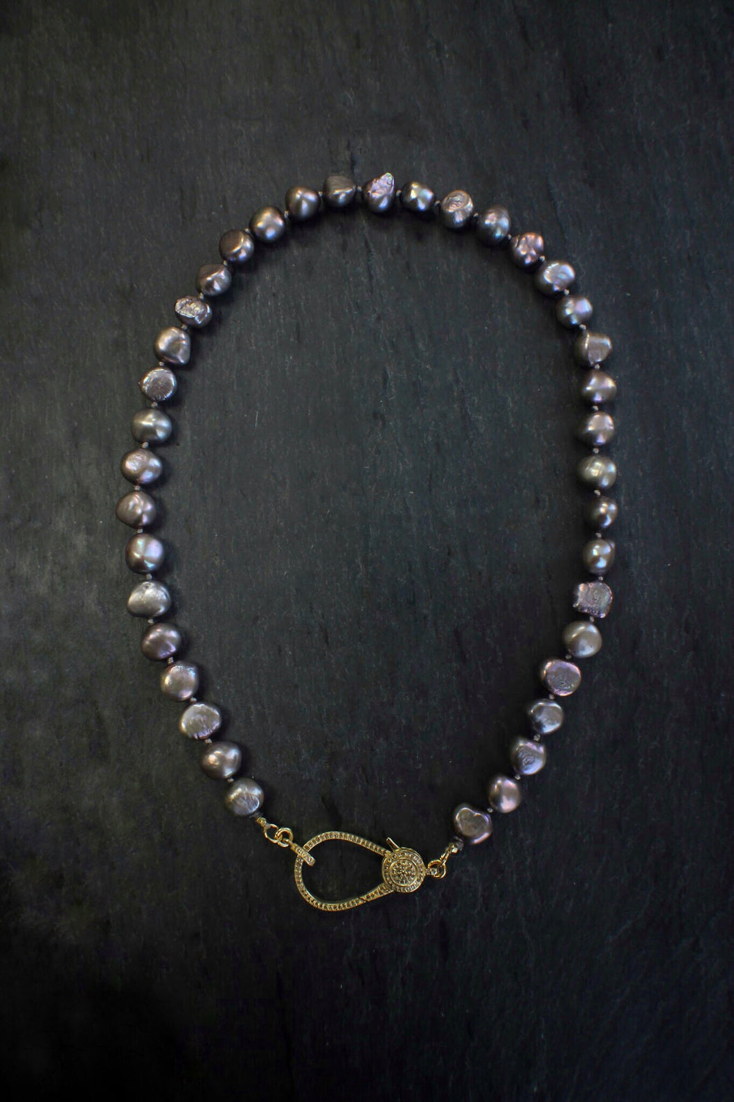 sea and stone jewelry Lavender Pearl With Diamond Lobster Clasp
