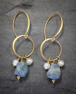 Sea and Stone Jewelry - Aquamarine Nugget Drop hook Earrings with Dainty White Pearls Dropped from Vermeil Circlets