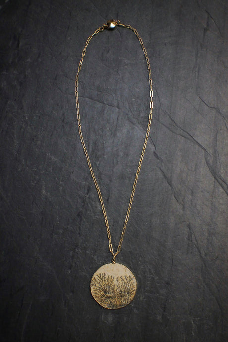 sea and stone jewelry Dendritic Limestone Necklace