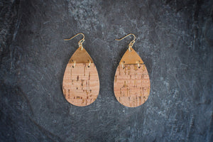 Gold Sparkle Cork Earrings
