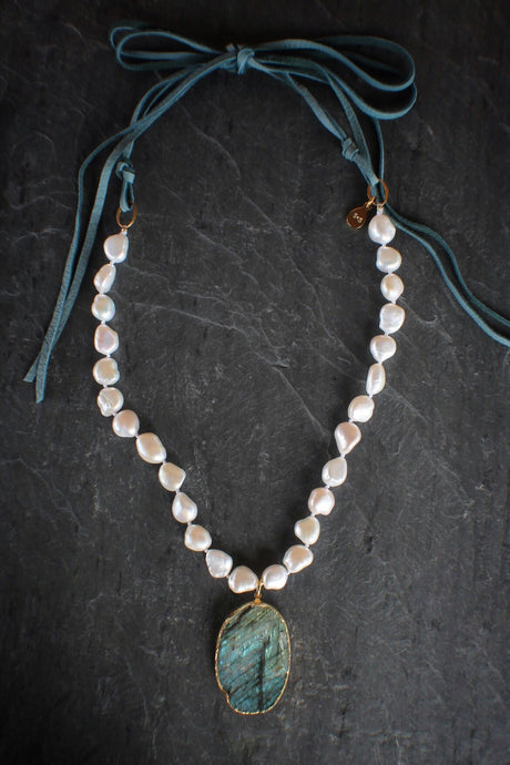 sea and stone jewelry Raw Labradorite & Baroque Pearl Necklace