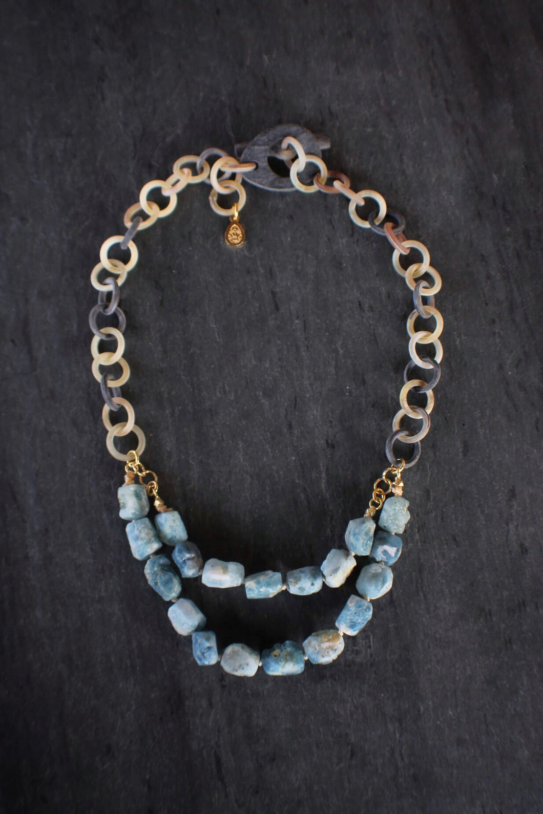 sea and stone jewelry Aquamarine & Linked Horn Bib Necklace