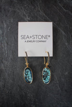 sea and stone jewelry Chrysocola & Diamond Drop Earrings