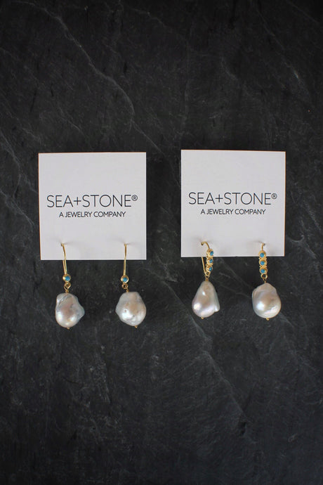 sea and stone jewelry 18k Gold Baroque Pearl & Turquoise Earrings