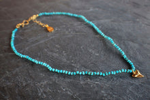 sea and stone jewelry Tiny Turquoise & Sharks Tooth Necklace