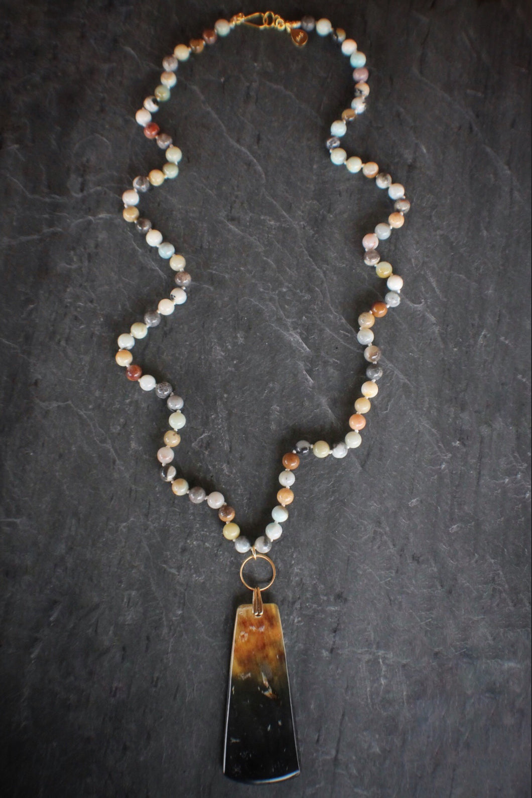 sea and stone jewelry Amazonite & Carved Horn Pendant