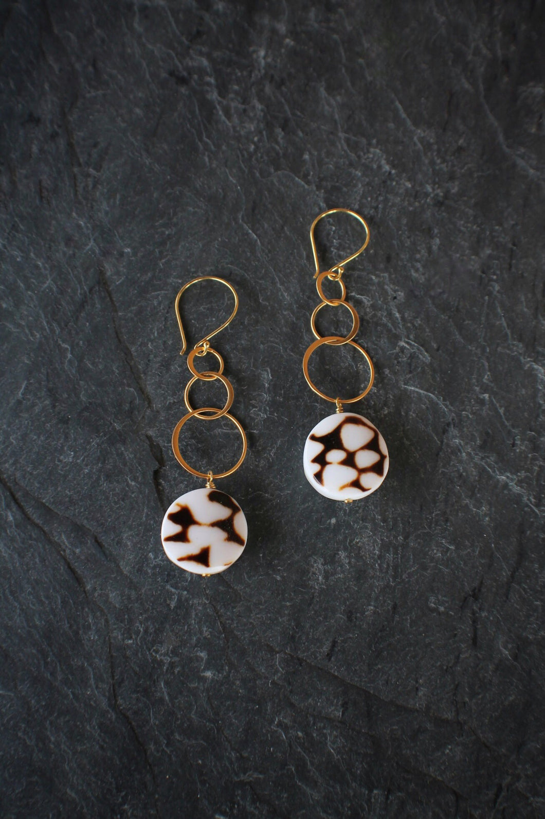 sea and stone jewelry Linked Shell Earrings