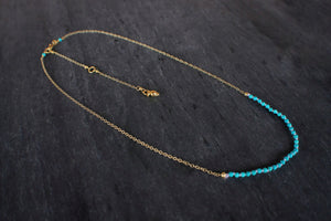 Gemstone Bar Necklace in Turquoise