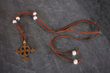 sea and stone jewelry Boho Cross & Pearl Necklace