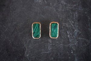 Faux Malachite Stud Earrings