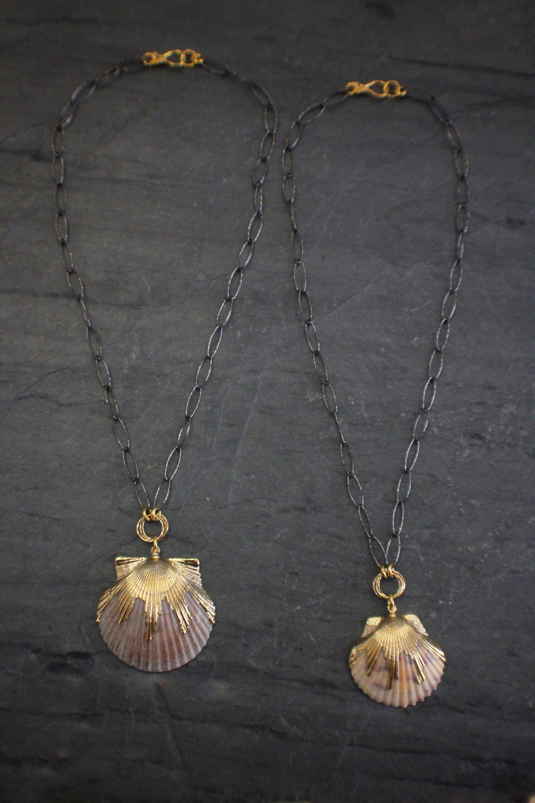 Sea and Stone Jewelry - Two Scallop Shell Necklaces side-by-side. Crafted in sterling silver chain and vermeil.