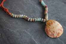 Jasper, Shell, & Suede Necklace