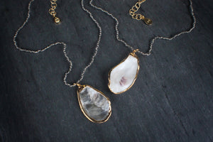 sea and stone jewelry Dainty Pyrite & Oyster Necklace