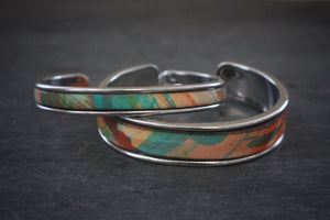 sea and stone tropical print leather inlay cuff bracelet thick and thin silver