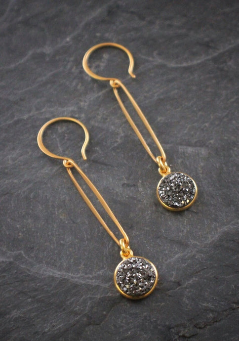 Oval Link Grey Druzy Drop Earrings