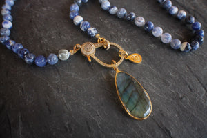 sea and stone jewelry Sodalite & Labradorite Necklace With White Topaz