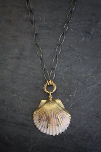 Sea and Stone Jewelry - Scallop Shell Necklace Crafted from Sterling Silver Chain and Vermeil