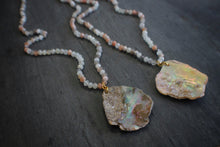 sea and stone jewelry Peach Moonstone & Abalone Fragment Necklace