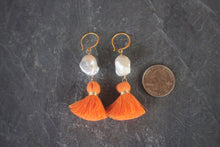 Baroque Pearl & Orange Tassel Earrings