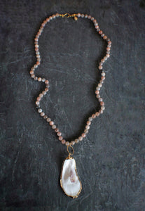 sea and stone jewelry Long Oyster & Moonstone Necklace