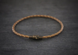 sea and stone leather bracelet with magnetic clasp tan