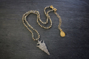 sea and stone jewelry Adjustable Length Diamond Arrowhead Necklace