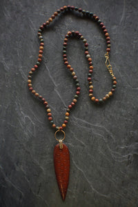 sea and stone jewelry Carved Wood & Jasper Necklace