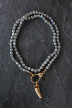 sea and stone jewelry Pave, Labradorite, & Antler Necklace