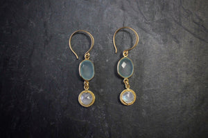 sea and stone jewelry Mint Chalcedony & Moonstone Earrings