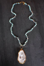 sea and stone jewelry Dyed agate & Oyster Necklace