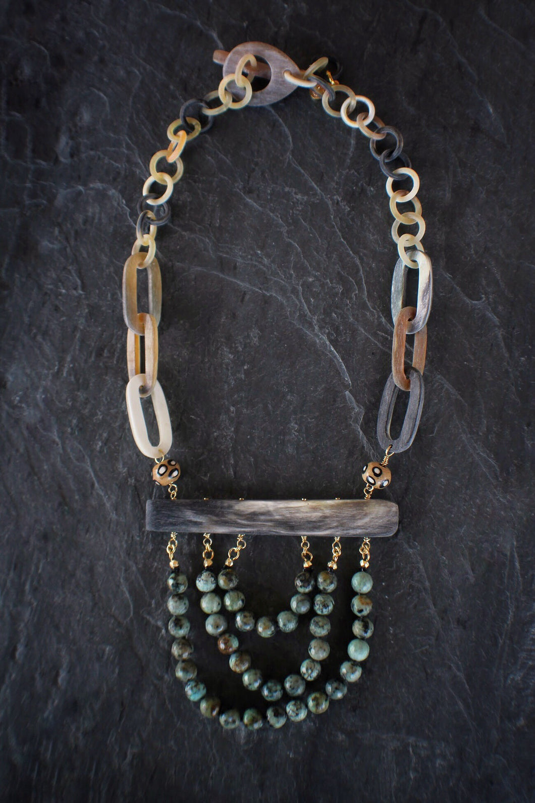 sea and stone jewelry Draped Turquoise Horn Necklace