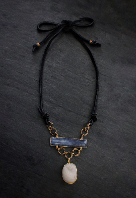 sea and stone jewelry Kyanite, River Pebble, & Leather Necklace