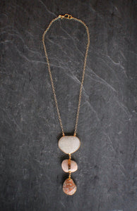 Blush River & Beach Pebble Necklace