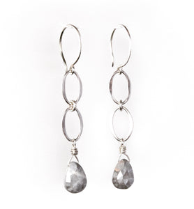 Sea and Stone Jewelry - Drop earrings with three interlocking sterling silver circlets and a hand wrapped moonstone briolette droplet under silver hook ear wires.