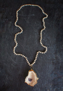 sea and stone jewelry Riverstone & Oyster Necklace