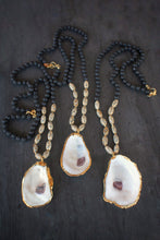sea and stone jewelry Wood, Lava, & Oyster Necklace