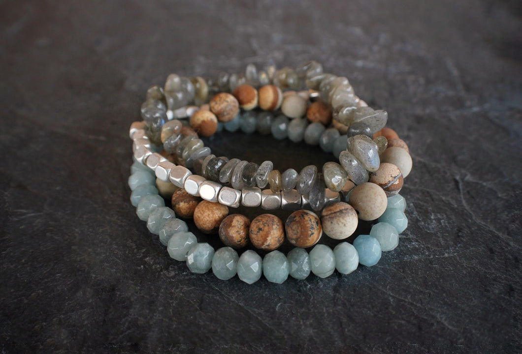 sea and stone jewelry Shoreline Gemstone Stretch Stack