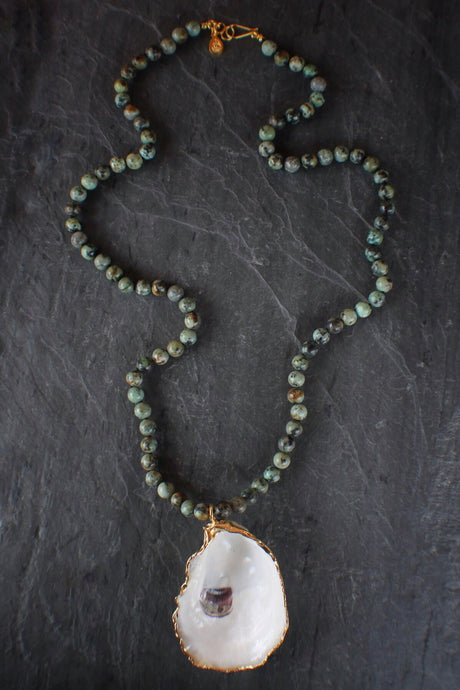 Long Oyster & African Turquoise Necklace