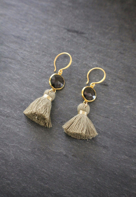 sea and stone jewelry Olive & Smokey Quartz Gemstone Tassel Earrings
